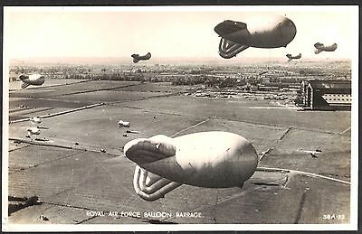 Wwii, Military Postcard, Royal Air Force Balloon Barage, Rp.