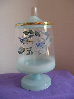 """Floral 7-1/2"""" Decorative Glass Dresser Jar - Footed With Lid"""