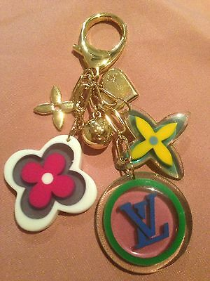 LOUIS VUITTON Key RIng Chain Bag Handbag Charm Gold And Candy Charms