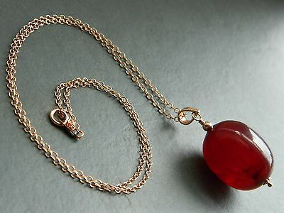 Art Deco Large Cherry Red Amber Tested BAKELITE Bead & Rolled Rose Gold Necklace