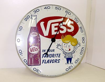 Vintage PAM Vess Soda Pop Round Thermometer Advertising Sign Drugstore EXC++