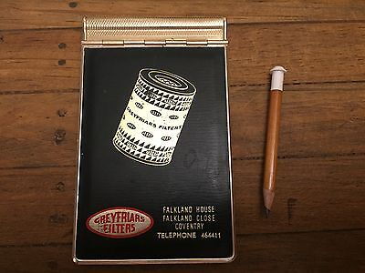 Vintage Metal Notepad Greyfriars Filters Complete with Pencil and Paper