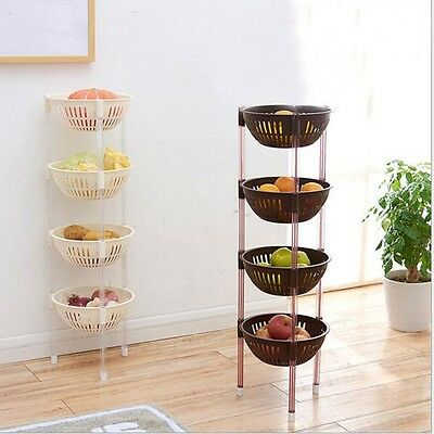 4 Tier Fruit Basket Rack Stand Kitchen Pantry Bathroom Organiser Storage Shelf