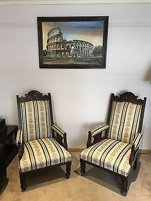 2 Victorian Antique Arm Chairs 1870s era Hand carved