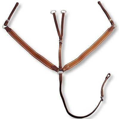Leather Elastic Breastplate Martingale Attachment Strap Adjustable Brown Pony