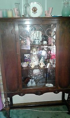 1930's Mahogany China Cabinet with Scroll work on Doors