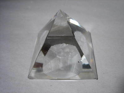 50mm Austrian Lead Crystal Paperweight  Pyramid with Carved Pharaoh