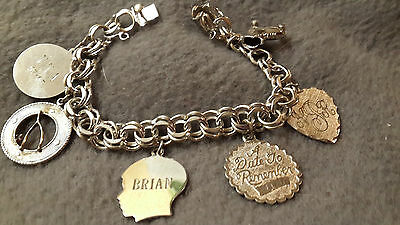 Sterling Silver Starter Charm Bracelet with 6  Assorted Charms ~ 35.2 grams