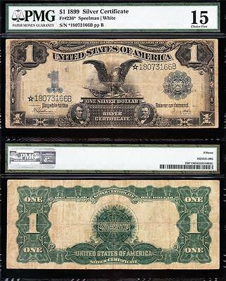 Nice SCARCE **STAR NOTE** 1899 $1 BLACK EAGLE Silver Cert! PMG 15! *18073166B