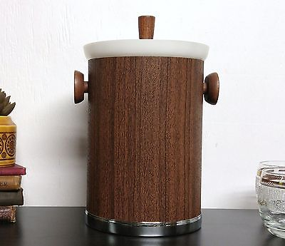 Mid Century Modern Kromex Ice Bucket Brown Faux Wood Chrome Vintage Barware Bar