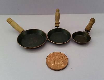 Dolls House Miniature - SET OF THREE FRYING PANS 1/12 Scale
