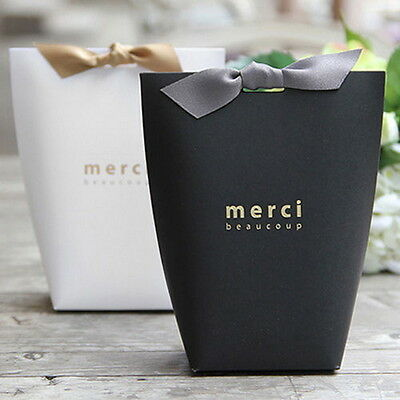 50X Merci Beaucoup Elegant Party Paper Wedding Favour Gift Sweets Boxes Bags GH