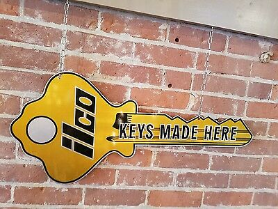 "Vintage 32"" Double Sided Metal Ilco Keys Made Here Locksmith Advertising Sign"