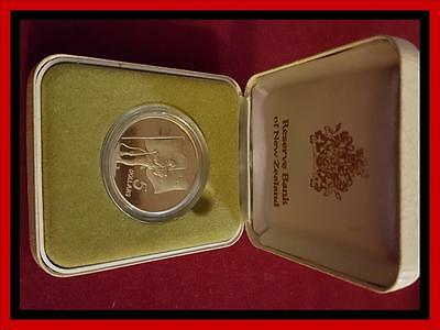 1990 New Zealand $5 Proof ANZAC  Coin, Set in Presentation Box