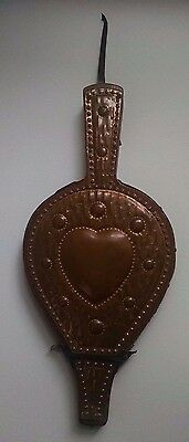 Vintage Antique Wood and Leather Fireplace Bellows Primitive copper plated heart