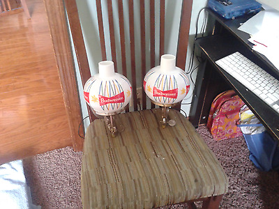 Vintage Budweiser Wall Sconce Lights Gas Lamp Bowtie Sign Logo All Original Ex+