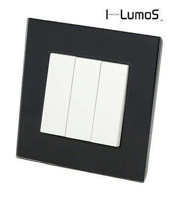 I LumoS AS Luxury Black Glass & White 13A Single/Double Sockets & Light Switches