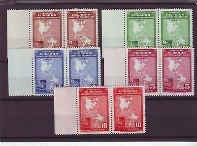 a113 - ECUSDOR - SG762-766 MNH 1946 COMPLETION OF PAN-AMERICAN HIGHWAY - PAIRS