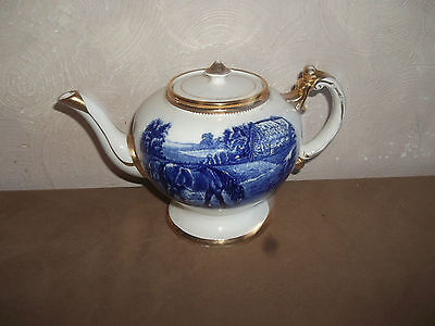 Arthur Wood Large Vintage Blue/white Horse Picture Teapot