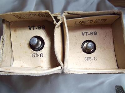 pair-e TUBE LAMPE TDC RCA GREY GLASS 6F8-G VT99 NOS NIB MATCHED TESTED =°=