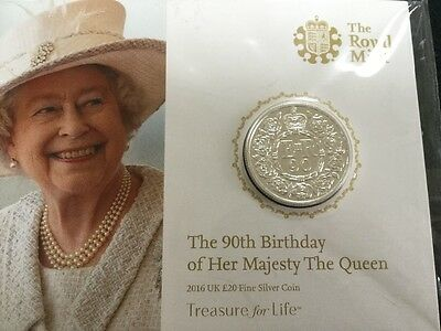 the royal mint £20 silver coin 90th birthdy