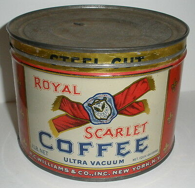 Royal Scarlet Coffee Tin Can With Lid R. C. Williams Co New York Neat Logo