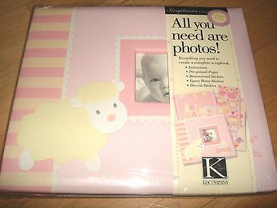 NEW K & Company Baby Girl Record Keepsake Memory Photo Cover Stickers Scrap book
