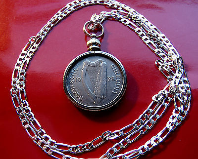 """Nice ---->1928 Ireland Sixpence Coin Pendant 20"""" Sterling Silver Chain Rare 1928"""