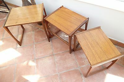 Vintage G Plan Red Label Nest of Solid Teak Coffee Tables Retro Eames Danish Era