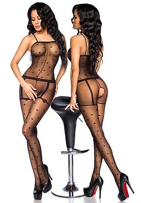 Sexy Retro Catsuit Polka Dots Bodystocking Punkte Strapse Ouvert Body Stocking