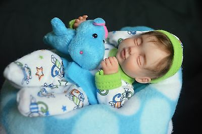 """OOAK Baby Art Doll Polymer Clay Hand Sculpted by Wendy Valles 7"""" Poseable"""
