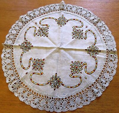 """Antique Embroidered Tablecloth Linen Vintage Table Cover Arts and Crafts 23"""""""