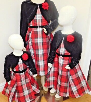 BNWT Jona Michelle 2 piece Girls'party Dress red plaid with jacket