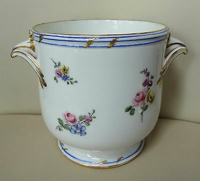 18th Century Sevres Porcelain Hand Painted Cache Pot - Signed Bardet 1757