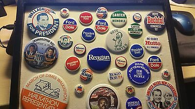 Vintage Lot Of 31 Political Campaign Buttons!!  Wallace, Clinton,ford,nixon.....