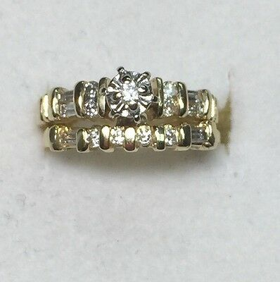 1/4 ct natural (REAL) DIAMOND ENGAGEMENT ring bridal set SOLID 14k yellow GOLD