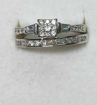 1/2 ct natural (REAL) DIAMOND ENGAGEMENT ring bridal set SOLID 14/10k white GOLD