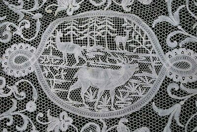 Antique Estate Finest Flemish Lace Figural Lace Runner  With Stags
