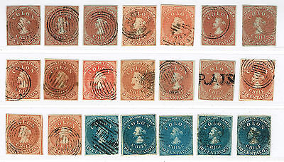 CHILE 1853-65 Nice selection first issue Christopher Columbus Imperf.used (x100)