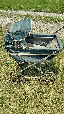 Vintage 1940s Pram Metal Baby Buggy Carriage Full Size WWII Era