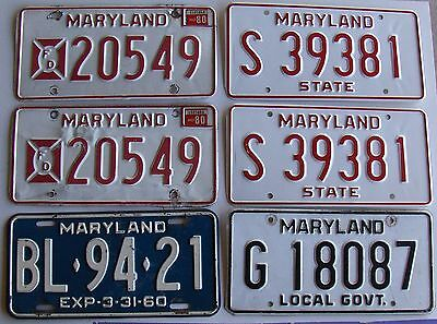 Lot of 6 MD Maryland License Plates - incl Firefighter, State & Local Government