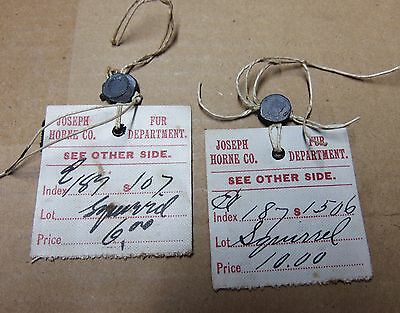 ADVERTISEMENT Joseph Horne Co. Dept. Fur Tags labels Squirrel two 1920's-30's
