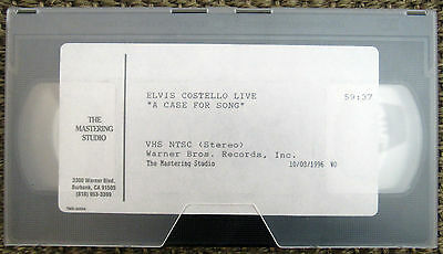 Elvis Costello ‎– A Case For Song - Promo VHS Tape, Promotional Video, Warner
