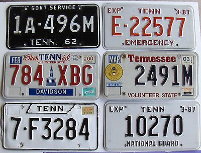 Lot of 6 TN Tennessee LicensePlates - Bicentennial Emergency EMT Guard Army Govt