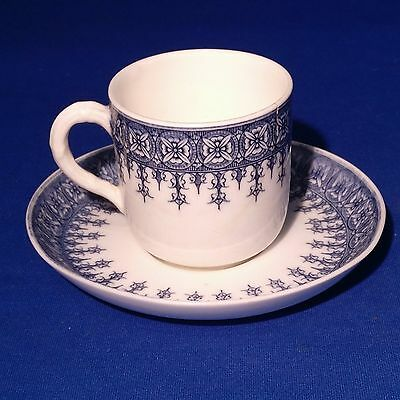 Antique ROYAL WORCESTER / JONES McDUFFEE STRATTON - Blue & White Cup & Saucer