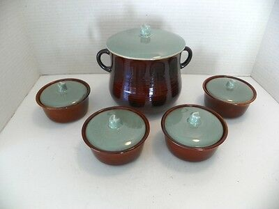 Red Wing Village Green Pottery, Dark Brown W/ Turquoise, Bean Pot & 4 Cov. Indv.