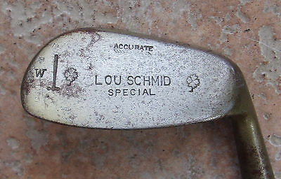 Antique Vintage 1920s Lou Schmid Hickory Wood Shaft Golf Club Mashie Niblick