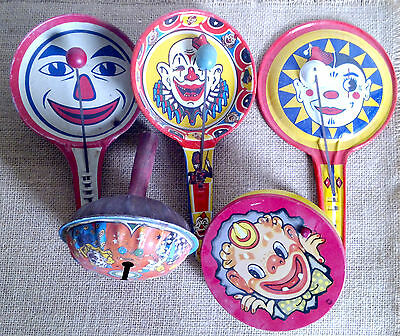 Vintage Lot Of 5 Five Tin Litho Clown Noise Makers Toy Company