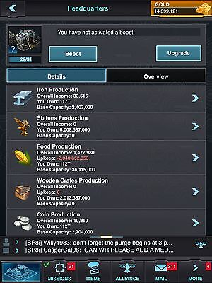 Mobile Strike Account Level 22, 100T Resources, T5