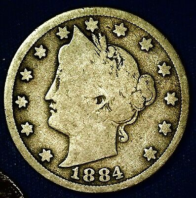 1884 Liberty V Nickel - Better Date Coin